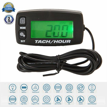 Amerteer Waterproof Tachometer Digital RPM Hour Tach Meter LCD for Gasoline Engine Chainsaw ATV UTV Dirtbike Motobike Motocycle Outboards Snowmobile Marine Boat