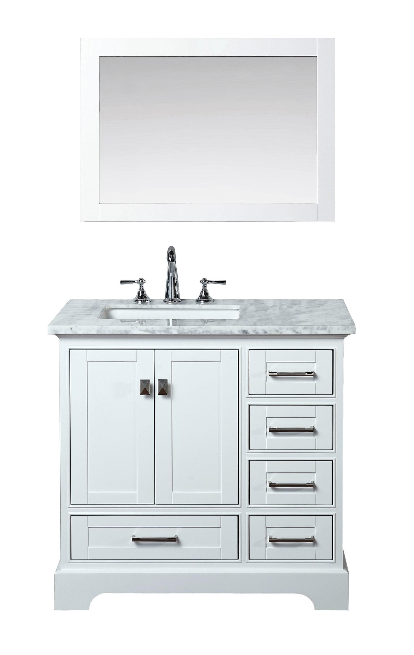 Newport White 36 Inch Single Sink Bathroom Vanity With Mirror Walmart Com Walmart Com