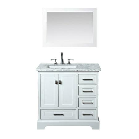 Newport White 36 inch Single Sink Bathroom Vanity with