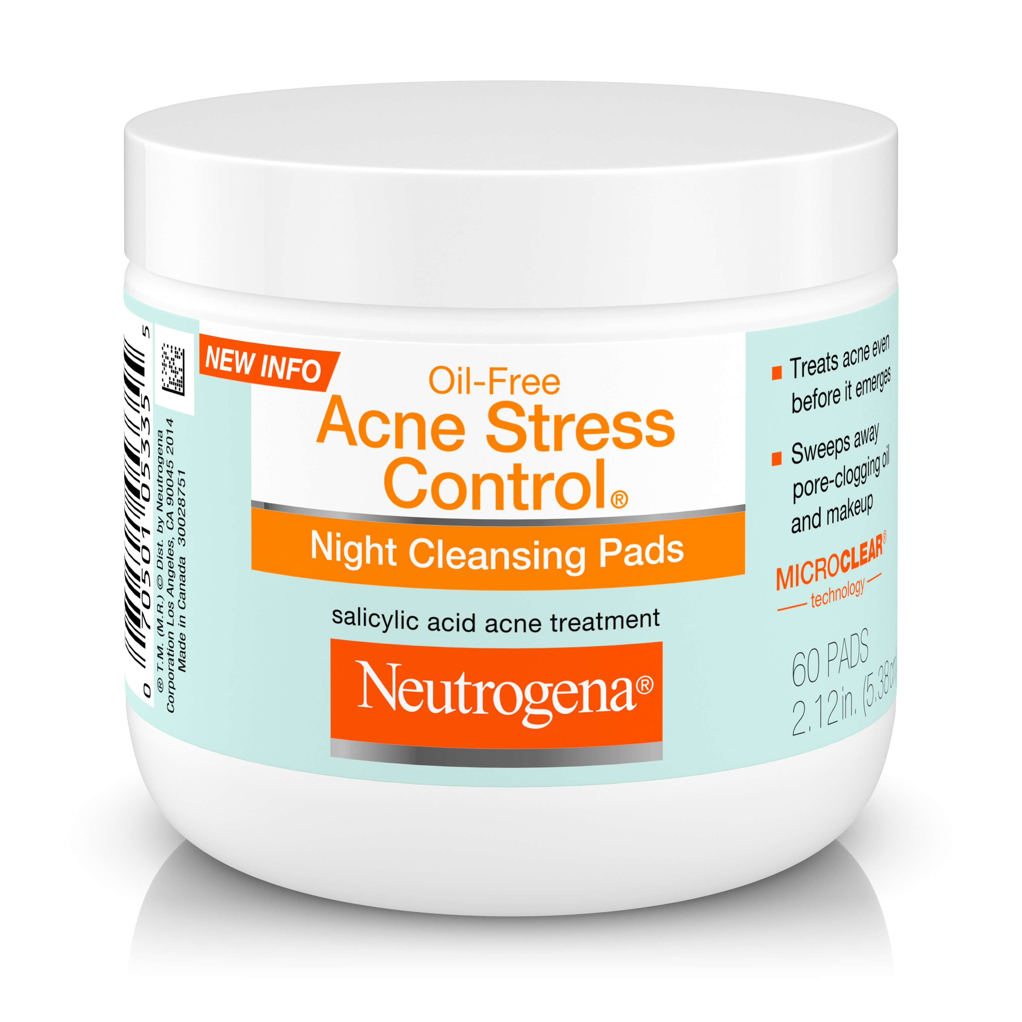 Neutrogena Oil-Free Acne Stress Control Night Cleansing Pads, 60 ct.