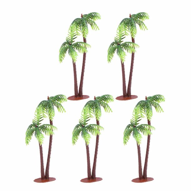 5pcs Plastic Coconut Palm Tree Miniature Plant Pots Bonsai Craft Micro Landscape Diy Decor Walmart Com Walmart Com