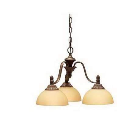 Kichler Tannery Bronze 3-Light Chanderliers With Umber Etched Glass