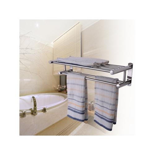 Double Rows Wall Mounted Bathroom Towel Rail Holder Toilet Storage Rack