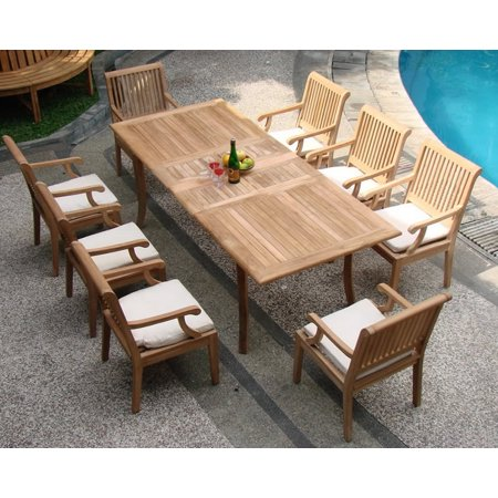 teak dining set 8 seater 9 pc 94 double extension rectangle table and 8 sack arm chairs. Black Bedroom Furniture Sets. Home Design Ideas