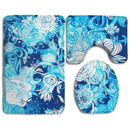 XDDJA Fantasy Blue Flowers 3 Piece Bathroom Rugs Set Bath Rug Contour Mat and Toilet Lid Cover - image 2 of 2
