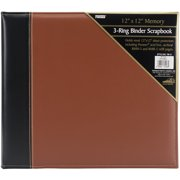 "Pioneer 3-Ring Sewn Cover Album 12""X12""-Black/Brown"