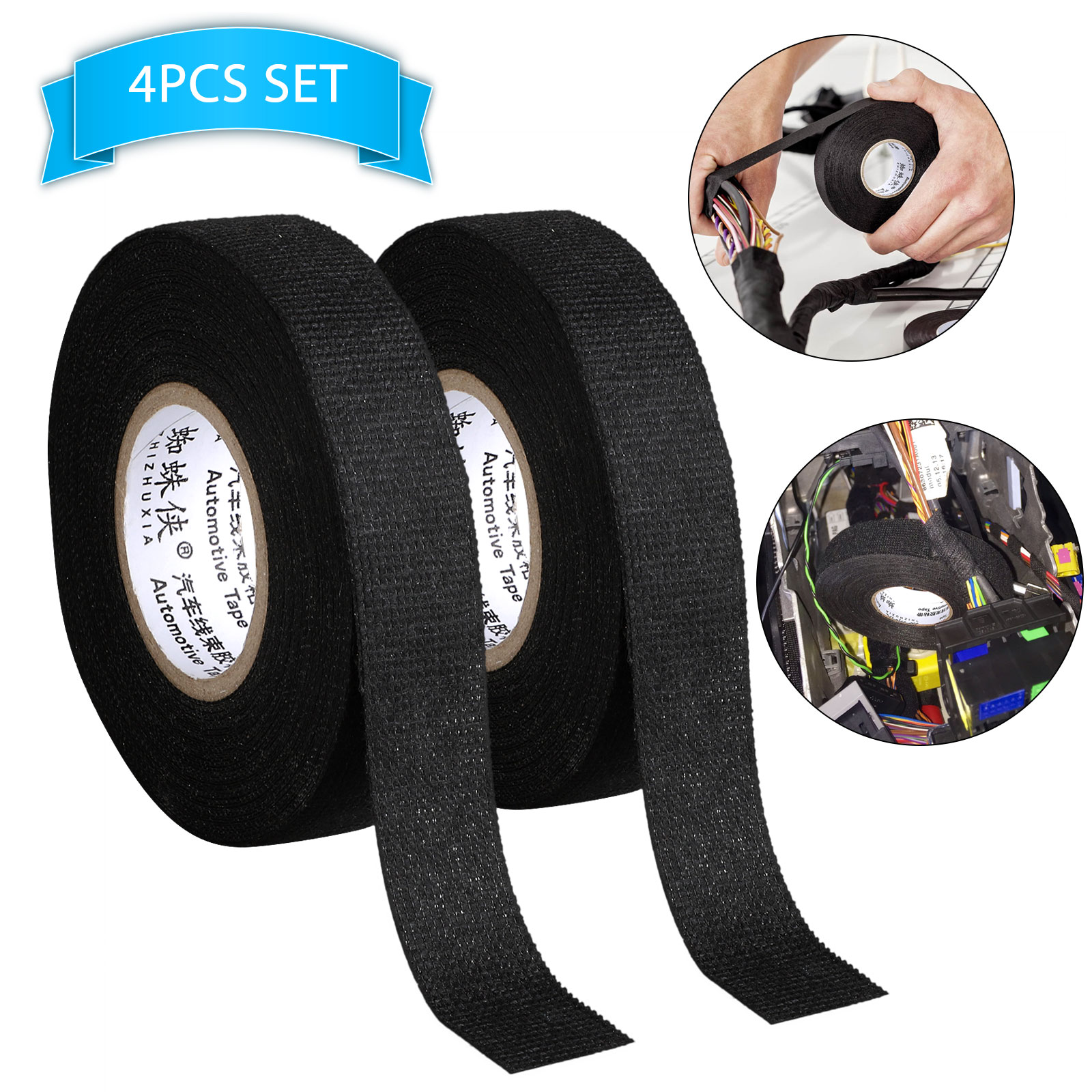 EEEkit 4 Rolls 49.2ft Wire Loom Harness Tape, Wiring Harness Tape, Wiring  Loom Harness Adhesive Polyester Tap, Adhesive Fabric Tape for Automobile,  Wire harnessing Noise Damping Heat Proof - Walmart.com - Walmart.comWalmart