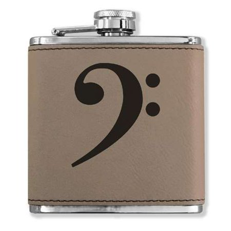 Faux Leather Flask - Bass Clef - Light Brown