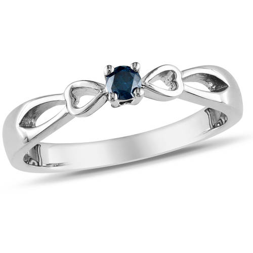 Blue Diamond Accent Sterling Silver Bow Design Promise Ring