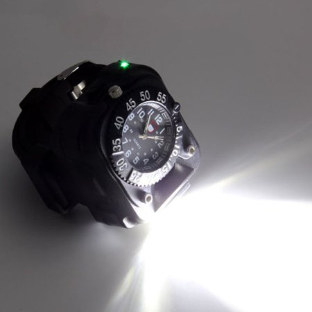 3 in 1 Super Bright LED Watch Flashlight Torch lights Compass, Outdoor Sports Rechargeable Mens Wrist Watch, Waterproof Wristband Lamp - image 3 of 6