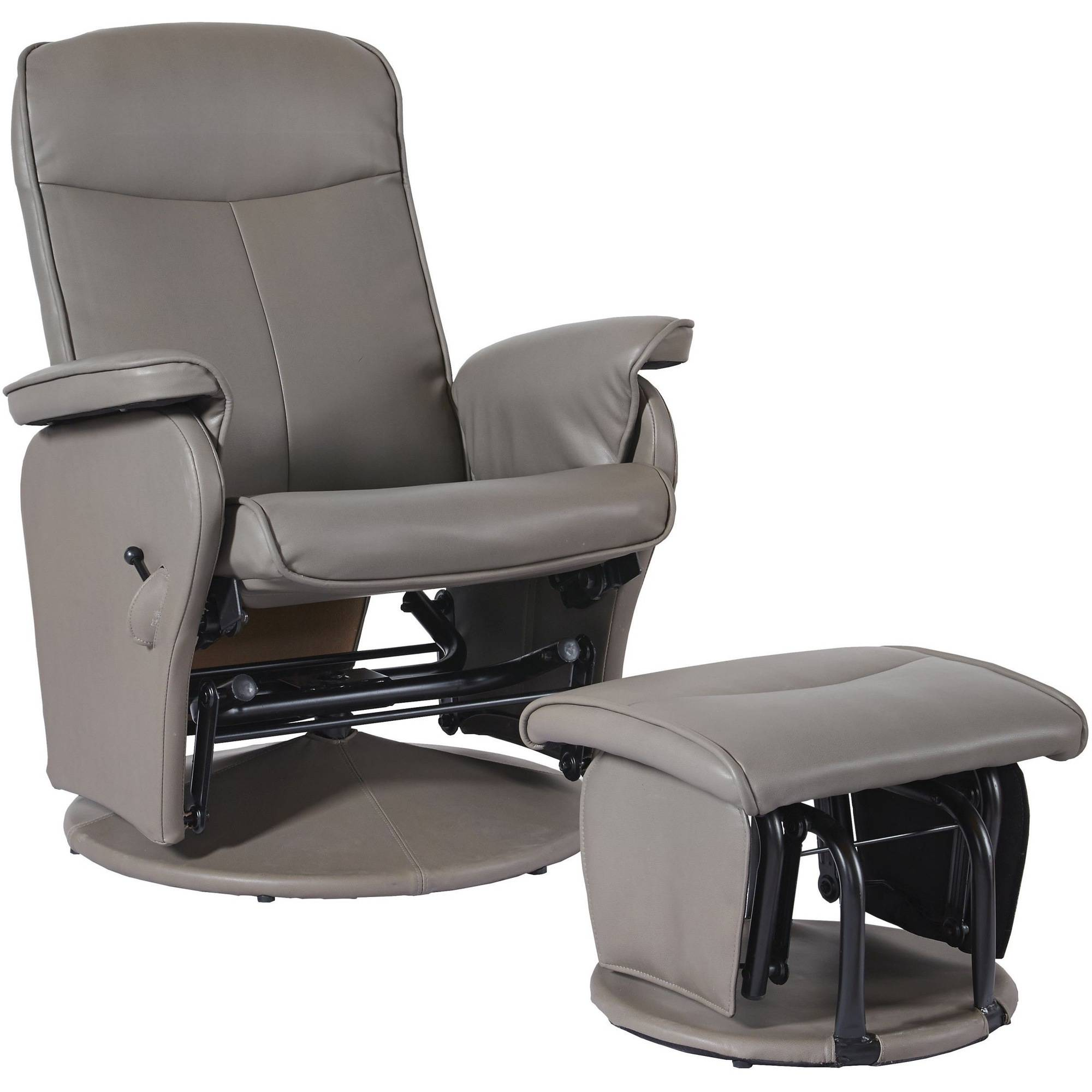 Shermag Glider and Ottoman Bonded Leather Taupe Walmart