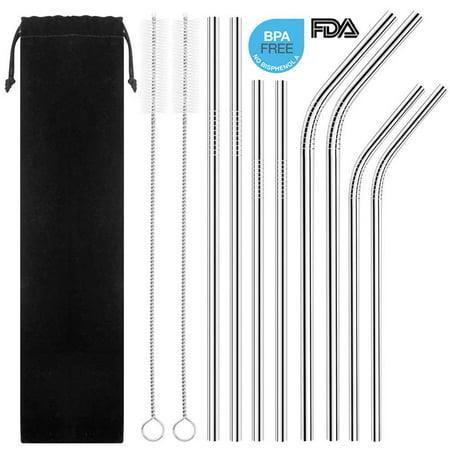 Reusable Stainless Steel Straws,Set of 8 Drinking Straws BPA Free 8.5