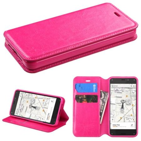 Insten Hot Pink Book Flip PU Leather Stand Cover Wallet Case With Tray For Amazon Fire (Tray Stand Cover)