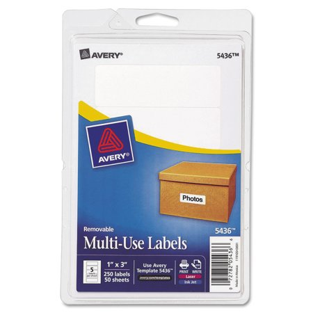Avery R  White Removable Print Or Write Labels 5436  1  X 3   Pack Of 250
