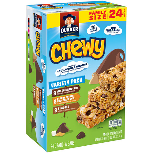 Quaker Chewy Granola Bars Variety Pack, 0.84 oz, 24 count