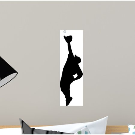 Catcher Baseball Silhouette Wall Decal by Wallmonkeys Peel and Stick Graphic (12 in H x 4 in W) WM137325 (Baseball Silhouette)