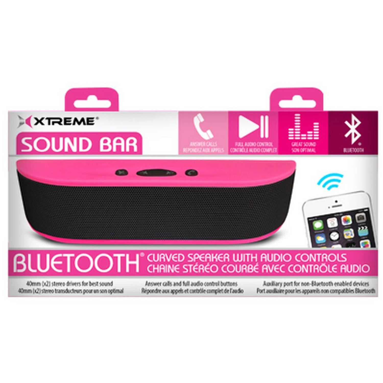 Soundbar Curved Bluetooth Speaker, Pink