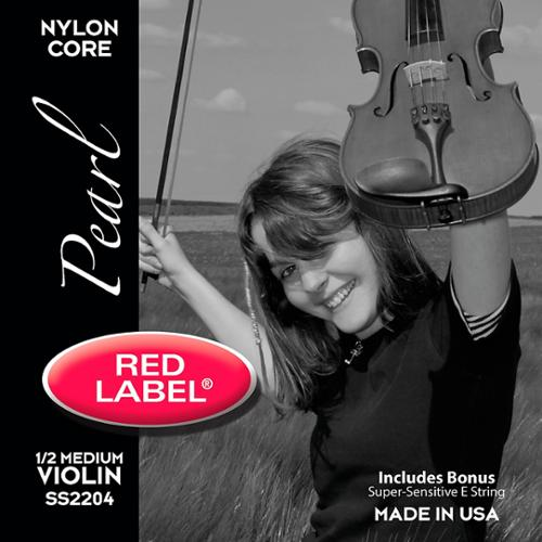 Super Sensitive Red Label Pearl Nylon Core Violin String Set 1 2 Size by Super Sensitive