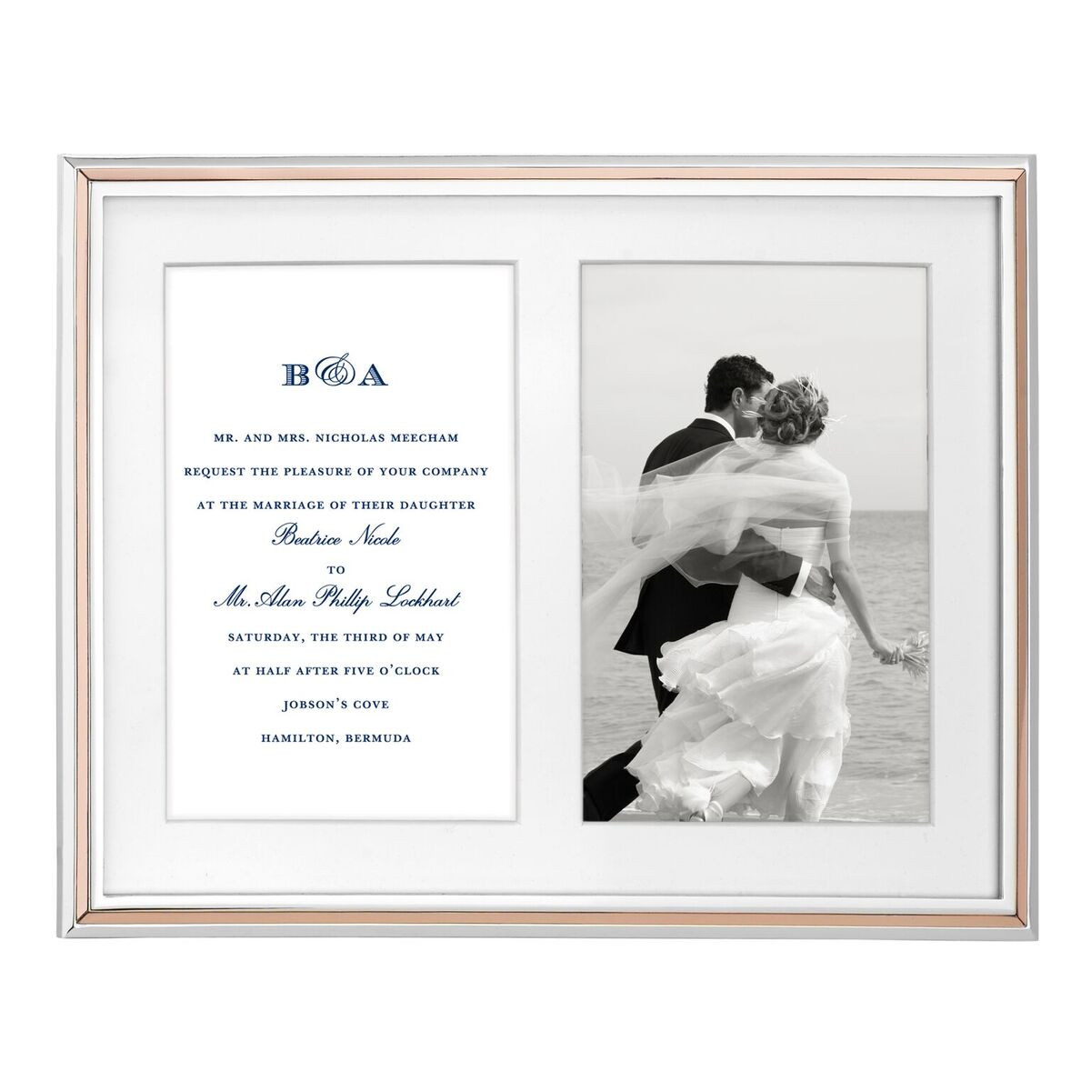 Kate Spade New York Rosy Glow Double Invitation Silver Plate Frame