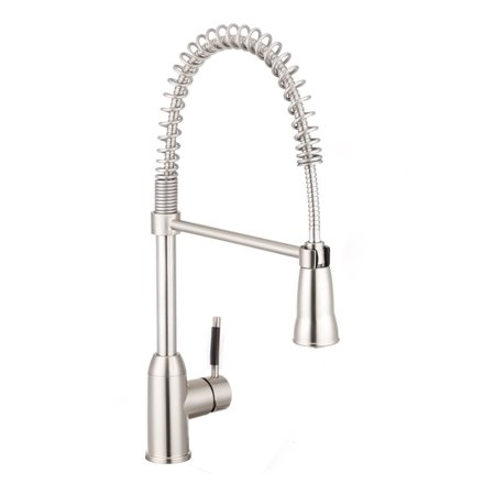 Zimtown Modern Commercial Brushed Nickel Stainless Steel Single Lever Pull  Out Sprayer Kitchen Faucet, High Arch Spring Pull Down Kitchen Sink Faucet