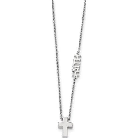 925 rhodi? argent sterling Faith w / Collier croix - image 1 de 1