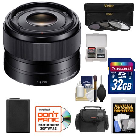 Sony Alpha E-Mount 35mm f/1.8 OSS Lens with 32GB Card + NP-FW50 Battery + Case + 3 Filters + Kit for A7, A7R, A7S Mark II, A5100, A6000, A6300