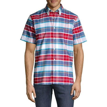 Plaid Short-Sleeve Oxford Shirt Long Sleeve Two Pocket Oxford Shirt