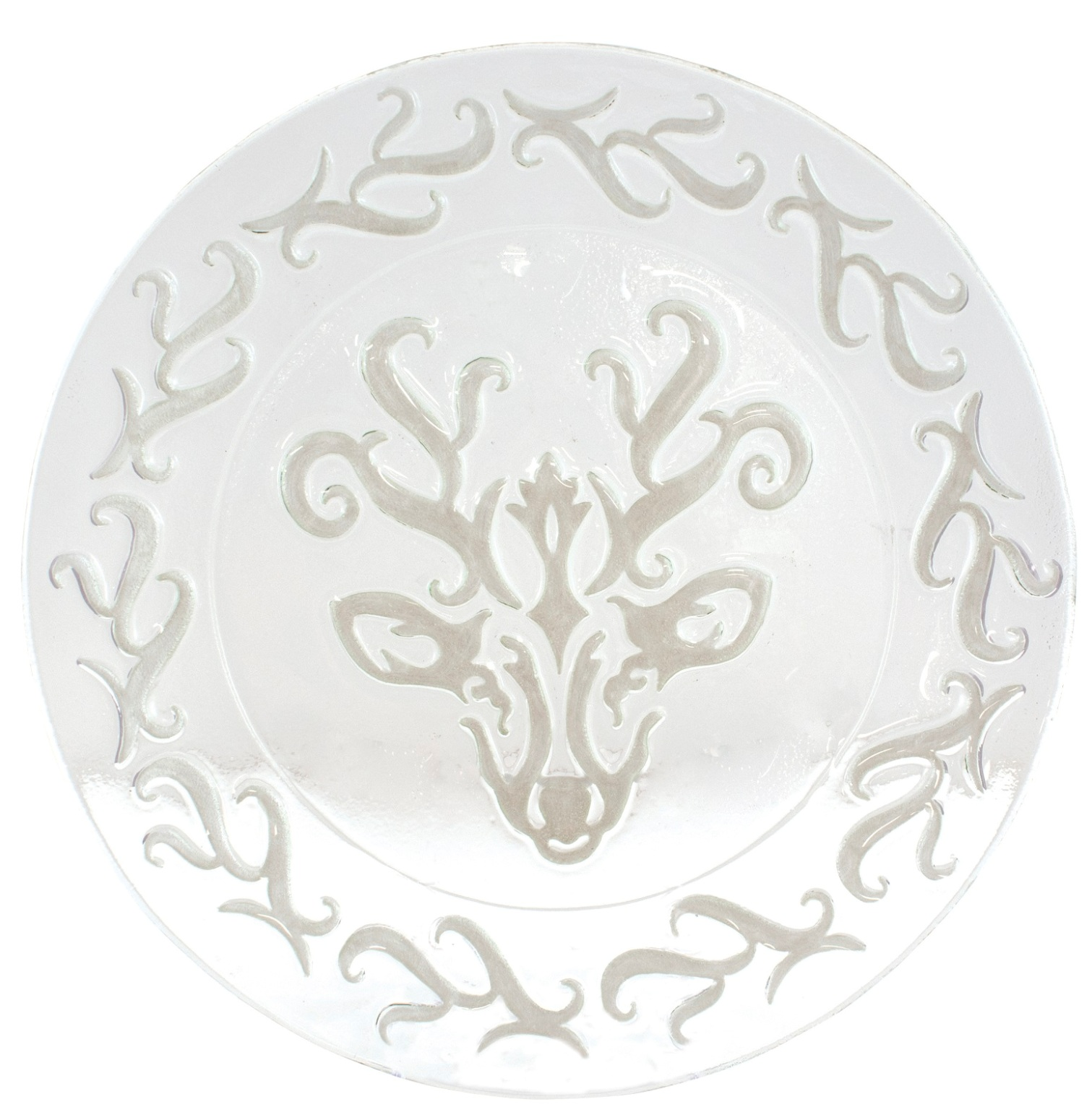 Chalet Reindeer Christmas Holiday Embossed Glass 13 Inch Plate Serving Platter