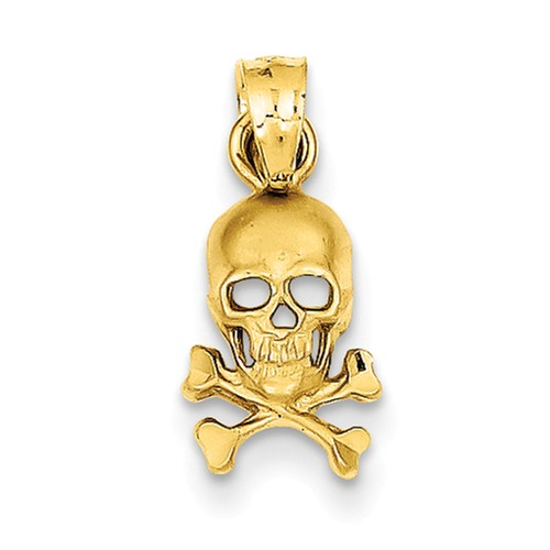 14k Yellow Gold Skull and Cross Bones Pendant