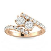 1.00 Carat TW Diamond Two Stone Ring in 10k Rose Gold (G-H, I2-I3, 1.00ctw)