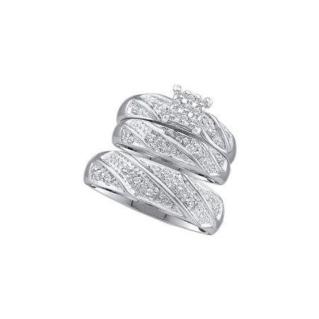 14kt White Gold His Hers Round Diamond Square Matching Bridal
