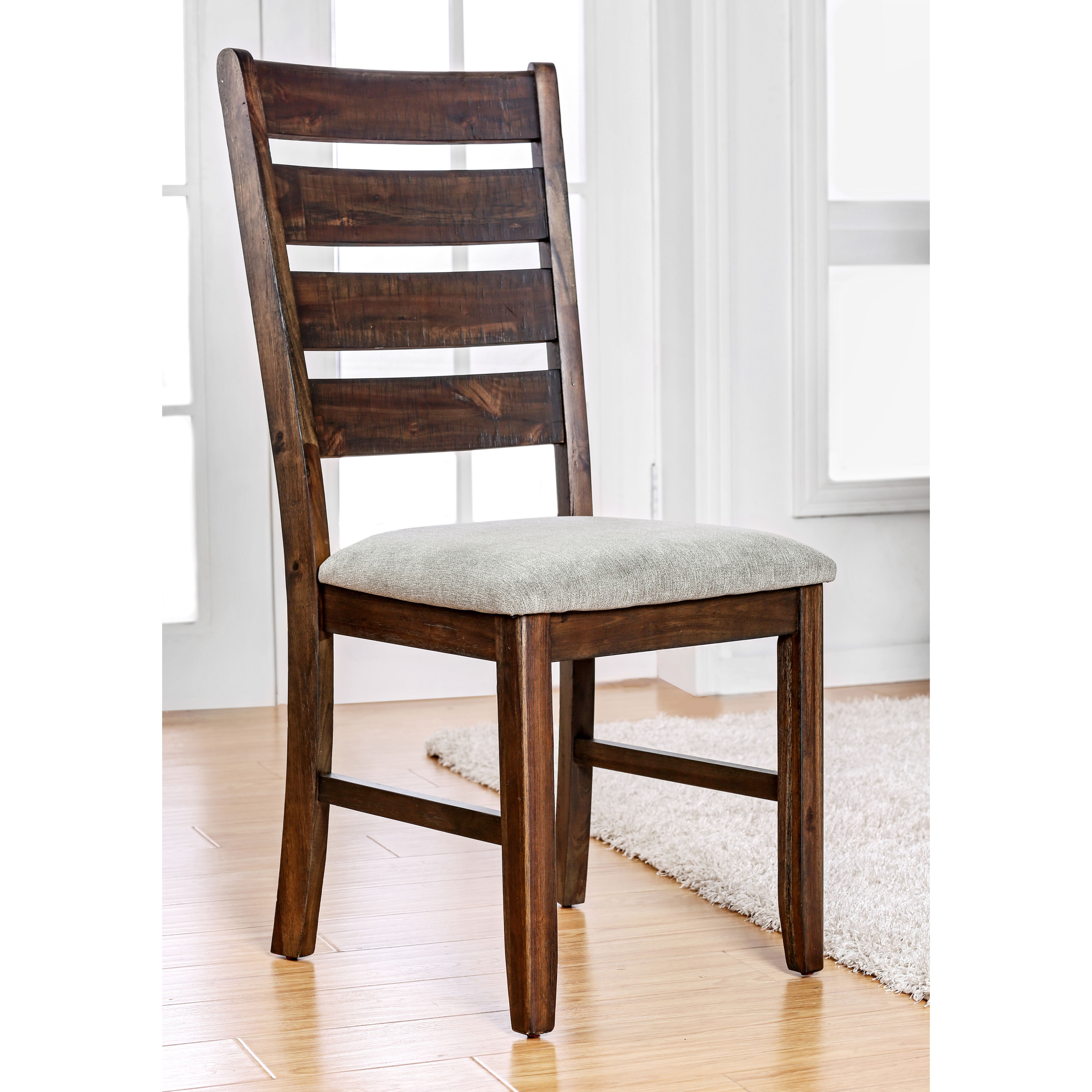 Furniture of America  Morlo Rustic Slatted Walnut Dining Chairs (Set of 2)