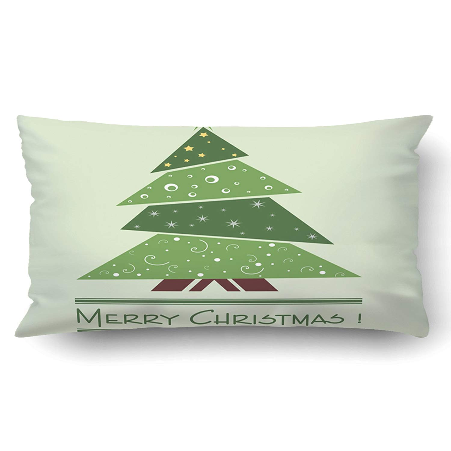 WOPOP Xmas Colorful Illustration With Decorated Green Christmas Tree Christmas Theme Pillow Case Cushion Cover Case Throw Pillow Case 20x30 inches