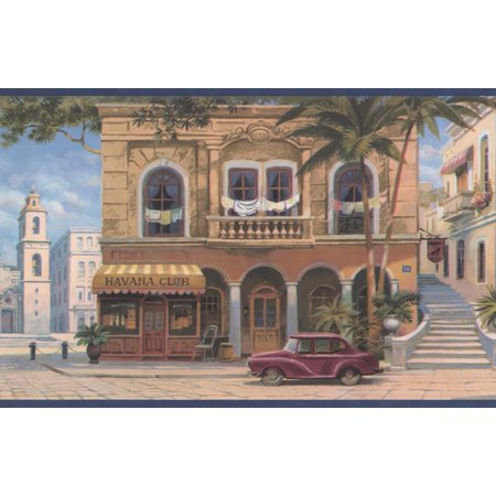 Vintage Havana Cigar Shops City Square Blue Trim Wallpaper Border Retro Design, Roll 15
