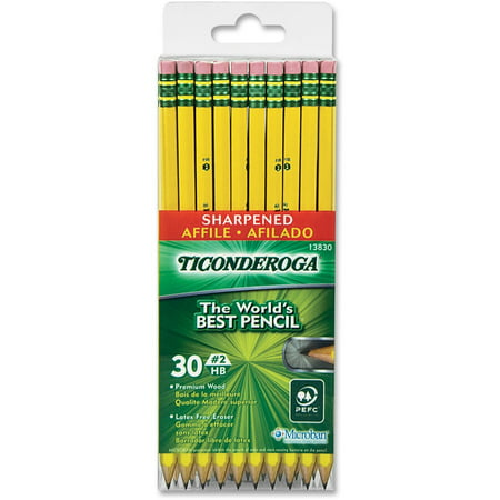 Dixon Ticonderoga Pre-Sharpened Pencil, #2 HB, Yellow, 30-Count
