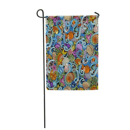 KDAGR Cartoon Doodles on The Subject of Under Water Life Theme Garden Flag Decorative Flag House Banner 28x40 inch