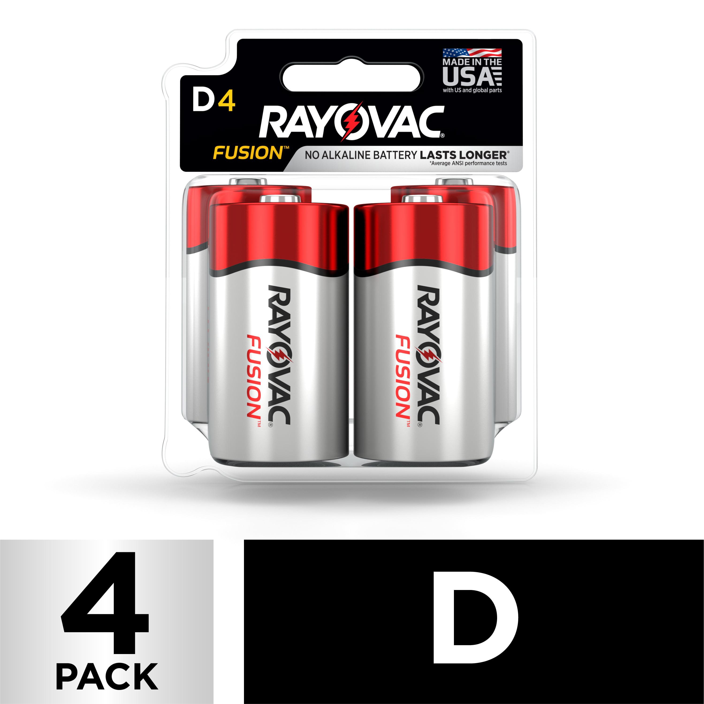 Rayovac FUSION Premium Alkaline, D Batteries, 4 Count