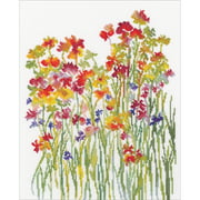 "RTO Counted Cross Stitch Kit 10.5""X13.25""-Flower Watercolour (14 Count)"