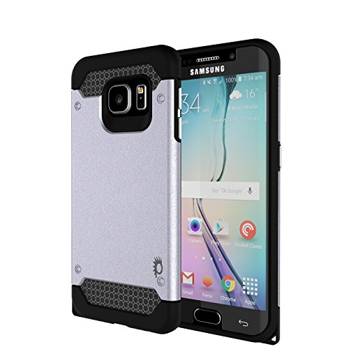 Galaxy s6 EDGE Case PunkCase Galactic Silver Series for Samsung Galaxy s6 EDGE Slim Protective Armor Soft Cover Case w/ Screen Protector Protector Lifetime Exchange Warranty