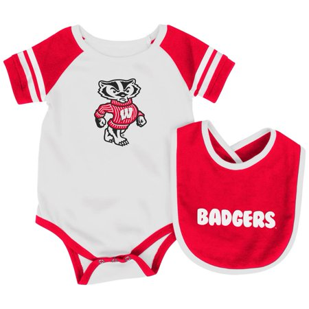 University of Wisconsin Badgers Baby Bodysuit and Bib Set Infant Jersey Infant Replica Onesie Jersey