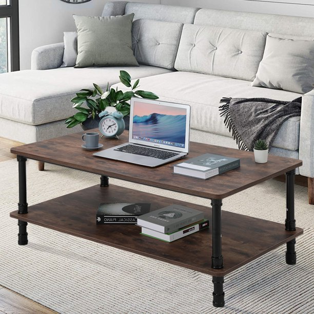 Modern Industrial Coffee Table With Storage Wooden Center Home Office Table Walmart Com Walmart Com