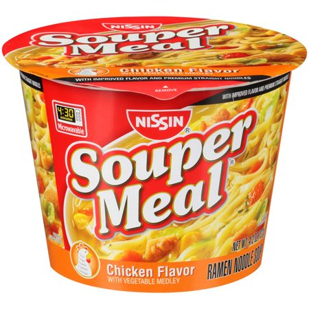 (3 Pack) Nissin Souper Meal Chicken Flavor with Vegetable Medley Ramen Noodle Soup, 4.3 oz