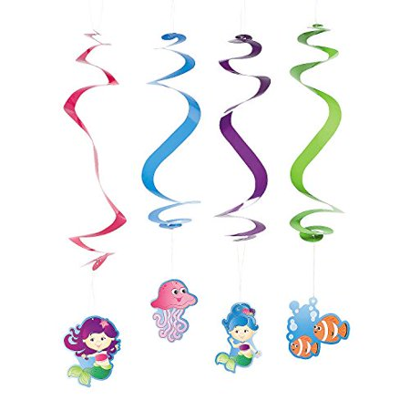 Mermaid Party Dangling Swirls - Party Decorations & Hanging Decorations (12 Pcs.)