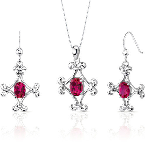 Oravo Cross Design 3.75 Carats Oval Shape Sterling Silver Ruby Pendant Earrings Set
