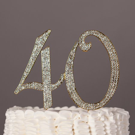 ella celebration 40 cake topper for 40th birthday party or anniversary gold crystal rhinestone number decoration (gold) - Birthday Numbers