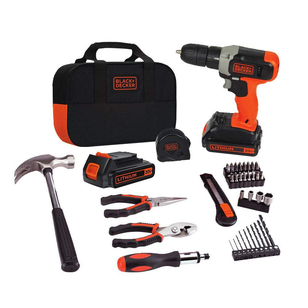BLACK+DECKER 20V MAX Lithium Drill and Project Kit with 2 Batteries, BCD702PK2B