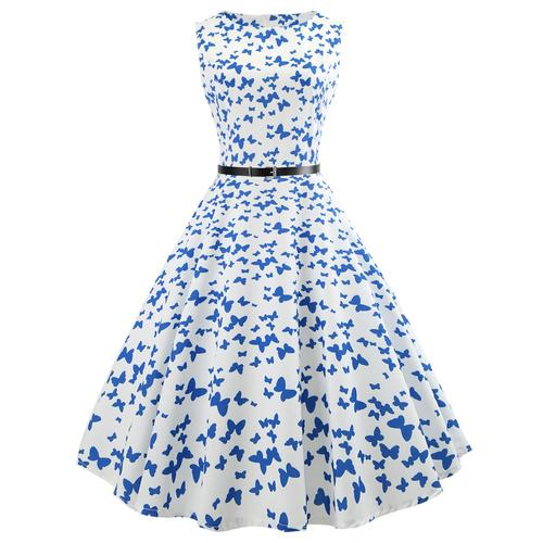 Elegant Women O-neck Christmas Flare Printing Sleeveless Party Gown Dress With Waist Belt