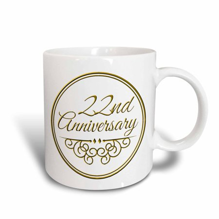 3dRose 22nd Anniversary gift - gold text for celebrating wedding anniversaries - 22 years married together, Ceramic Mug, 11-ounce ()
