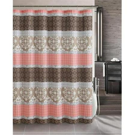 Luxury Home Sonata Shower Curtain Set Brown Coral 72 X 72 Inch 13