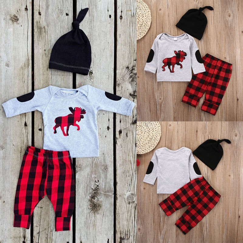 3PCS Set Newborn Baby Girls Boys Tops T-Shirt +Long Pants Hat Outfits Clothes